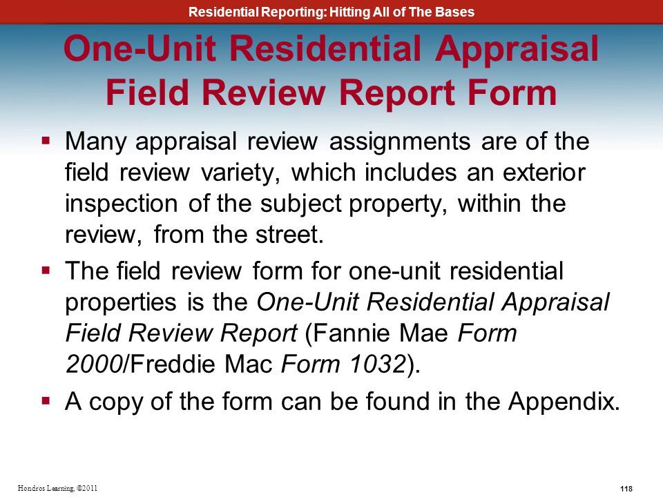 One-Unit Residential Appraisal Field Review Report Form