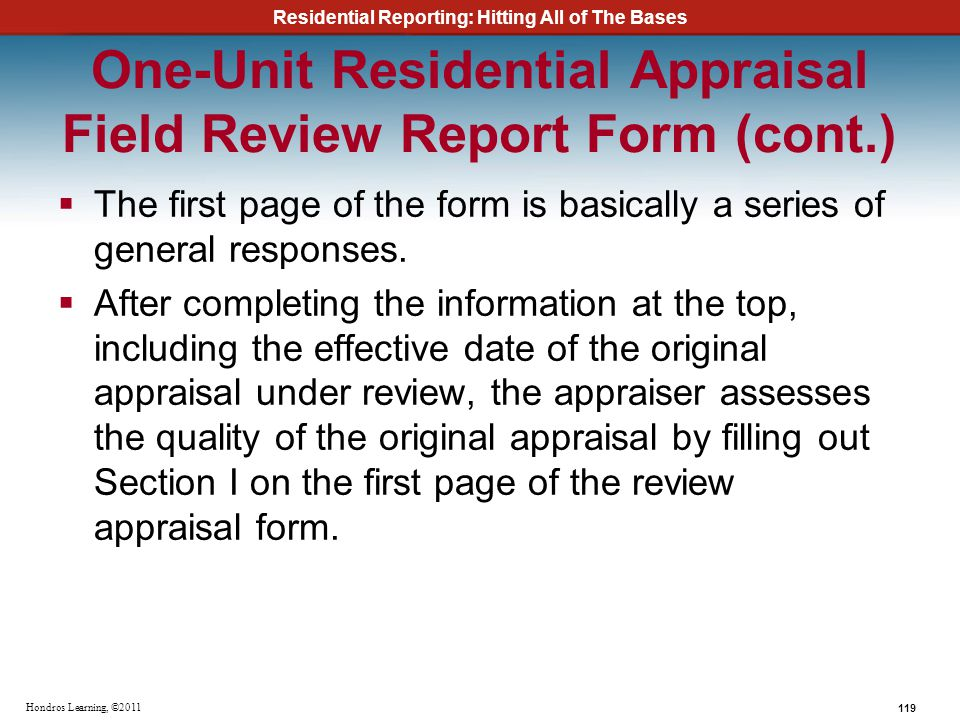 One-Unit Residential Appraisal Field Review Report Form (cont.)