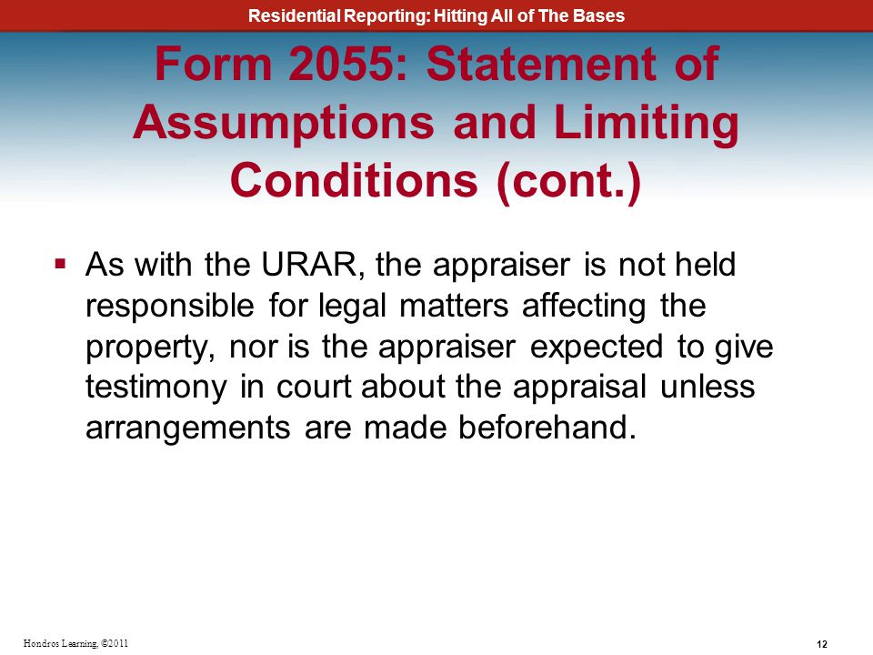 Form 2055: Statement of Assumptions and Limiting Conditions (cont.)