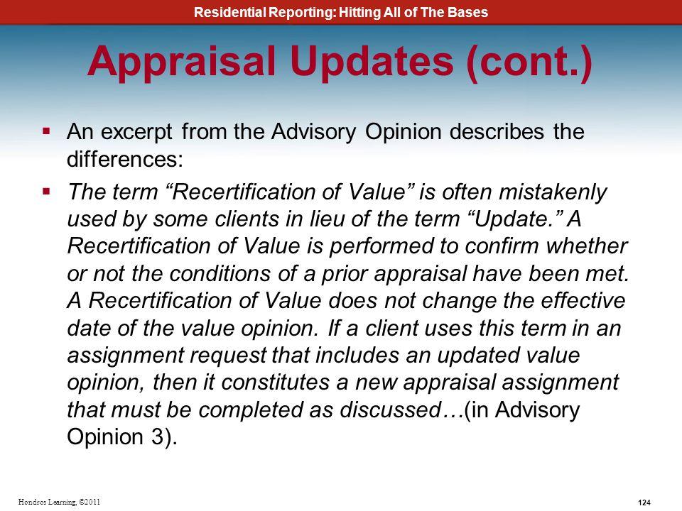 Appraisal Updates (cont.)