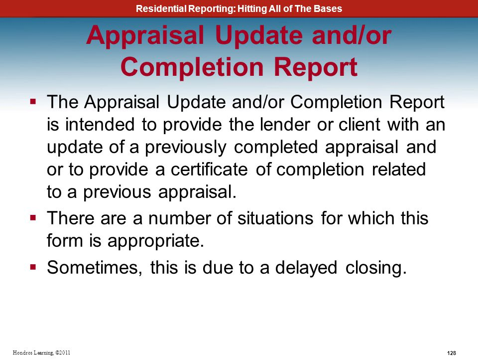 Appraisal Update and/or Completion Report