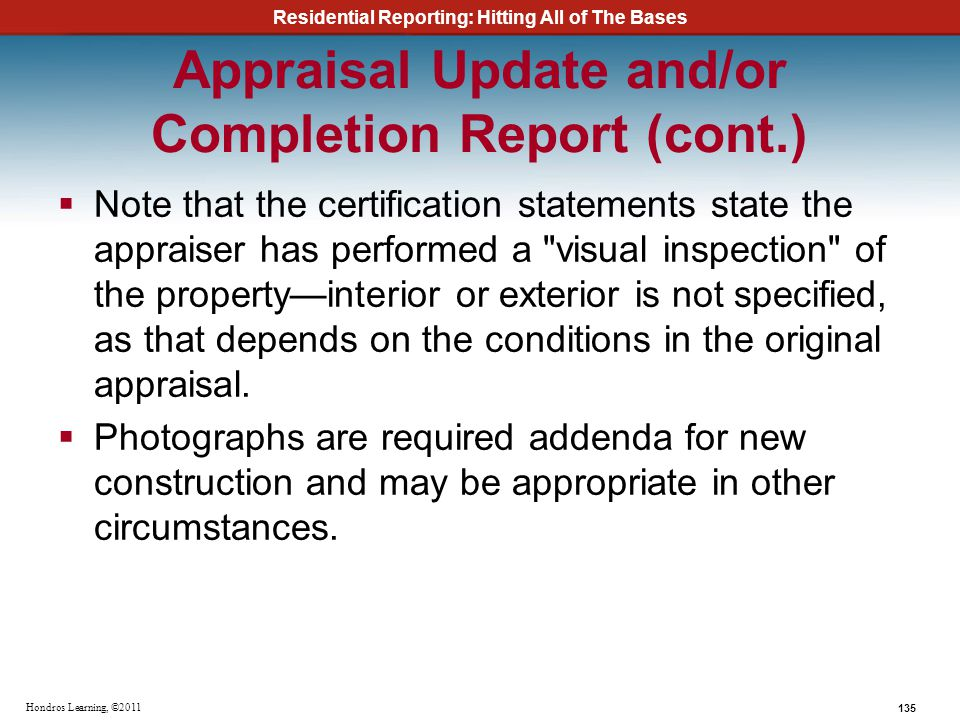 Appraisal Update and/or Completion Report (cont.)