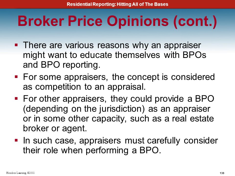 Broker Price Opinions (cont.)
