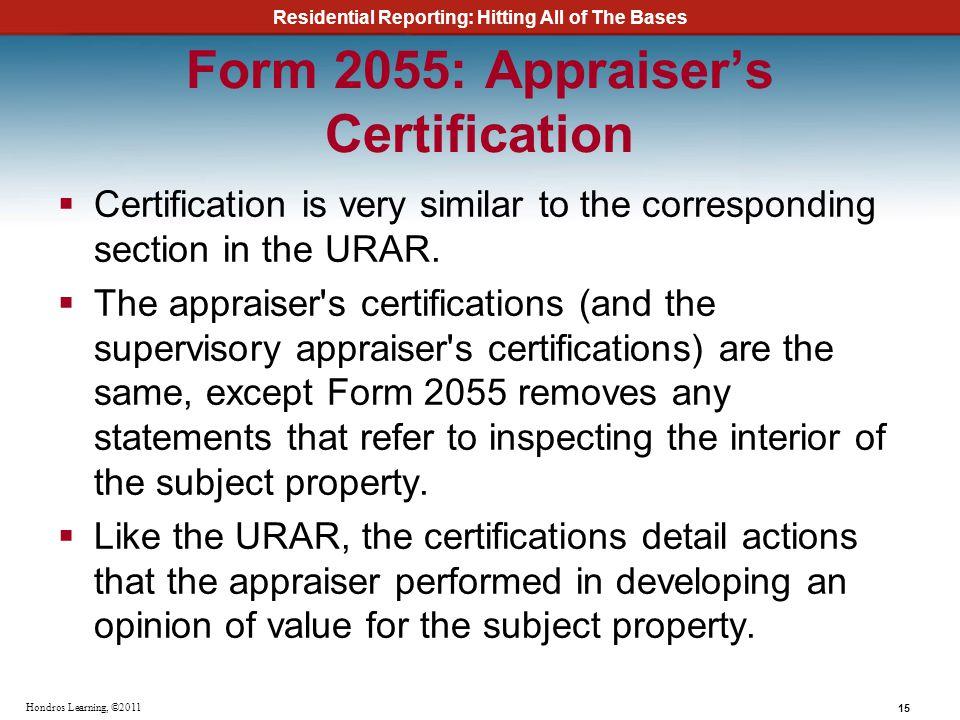 Form 2055: Appraiser's Certification
