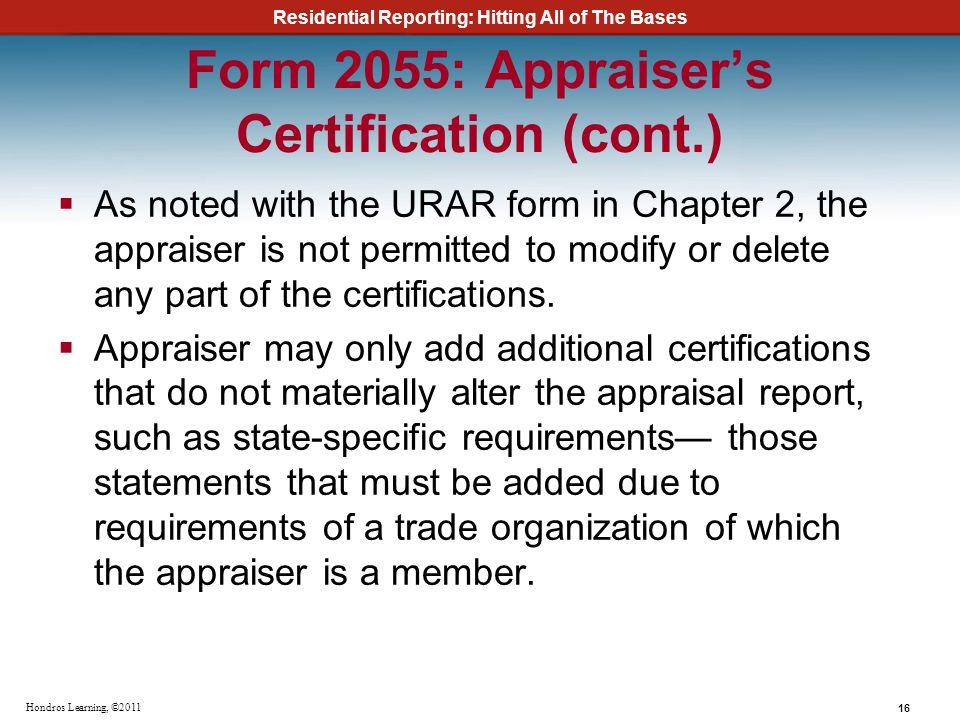 Form 2055: Appraiser's Certification (cont.)