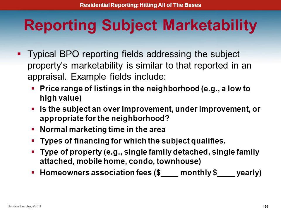 Reporting Subject Marketability