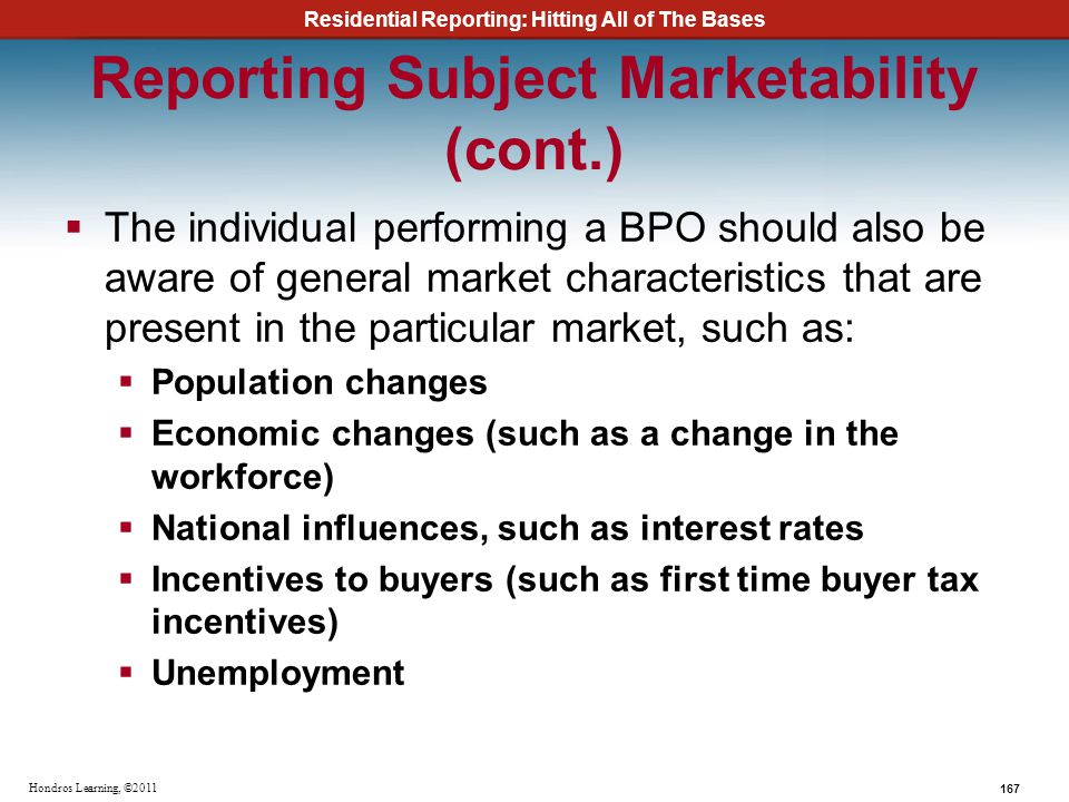Reporting Subject Marketability (cont.)