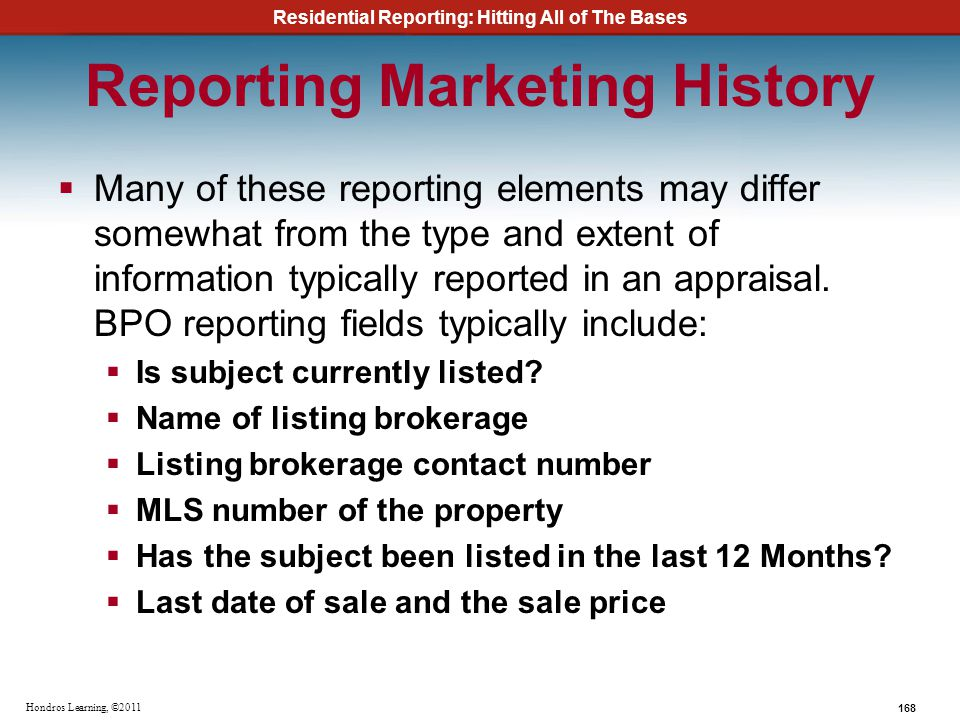 Reporting Marketing History