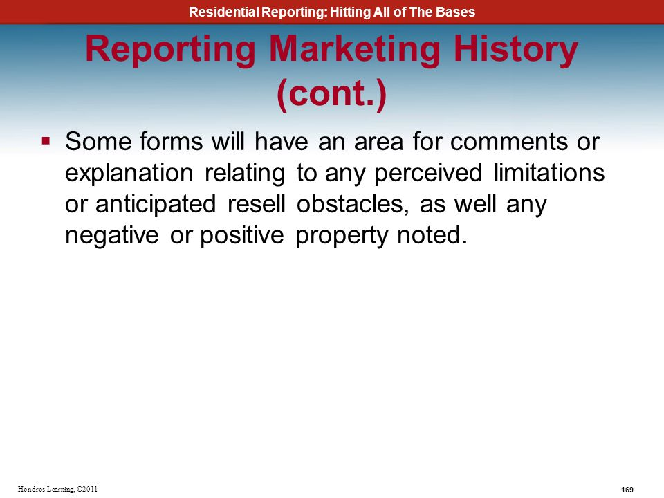 Reporting Marketing History (cont.)