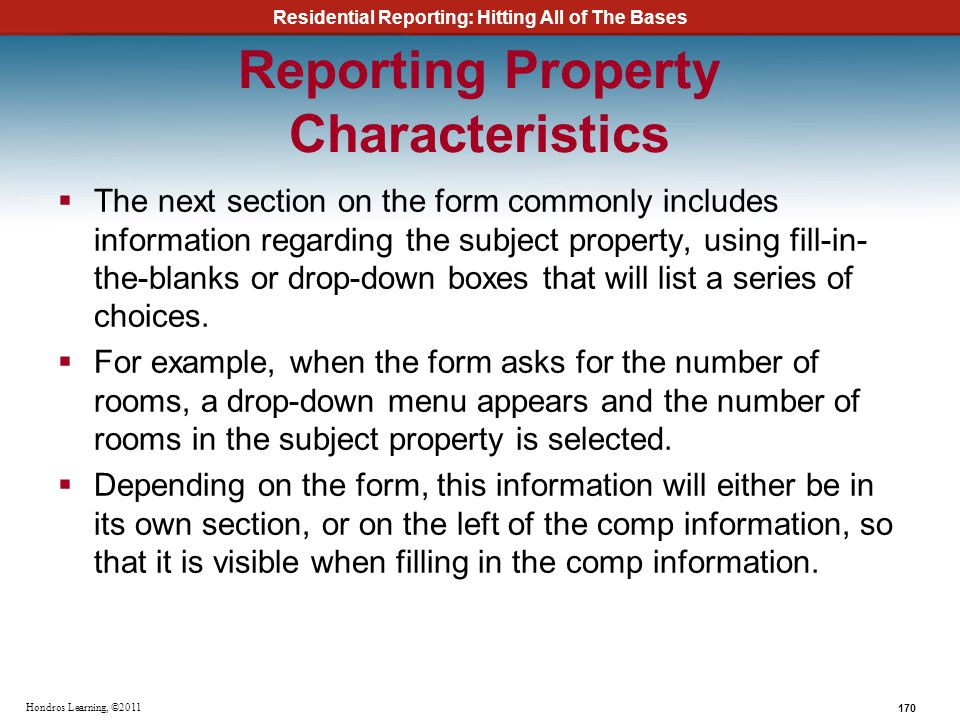 Reporting Property Characteristics
