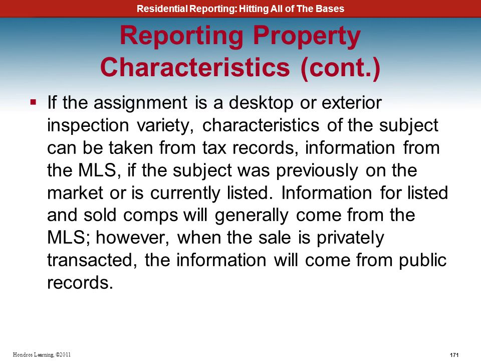Reporting Property Characteristics (cont.)