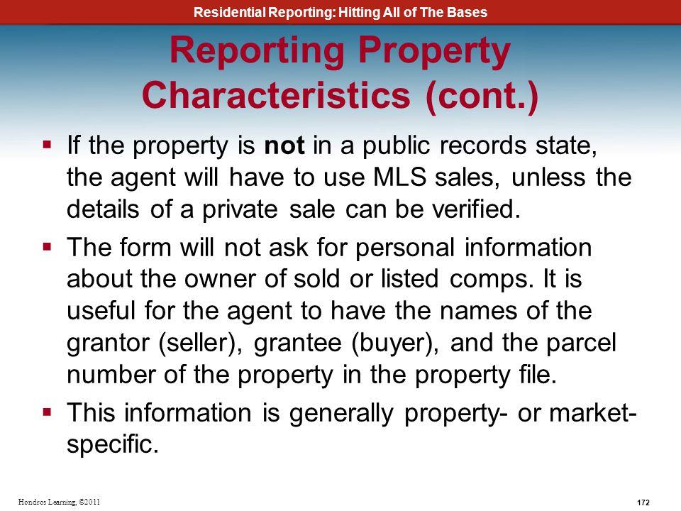 Reporting Property Characteristics (cont.)
