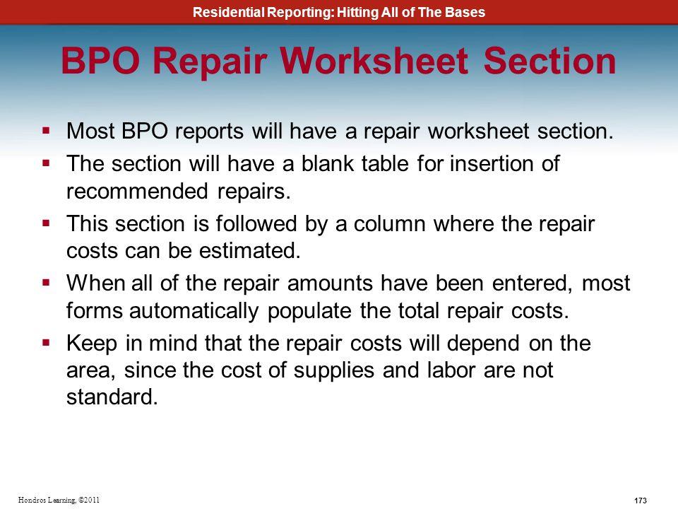 BPO Repair Worksheet Section