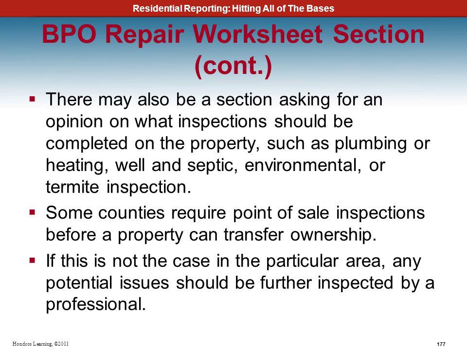 BPO Repair Worksheet Section (cont.)