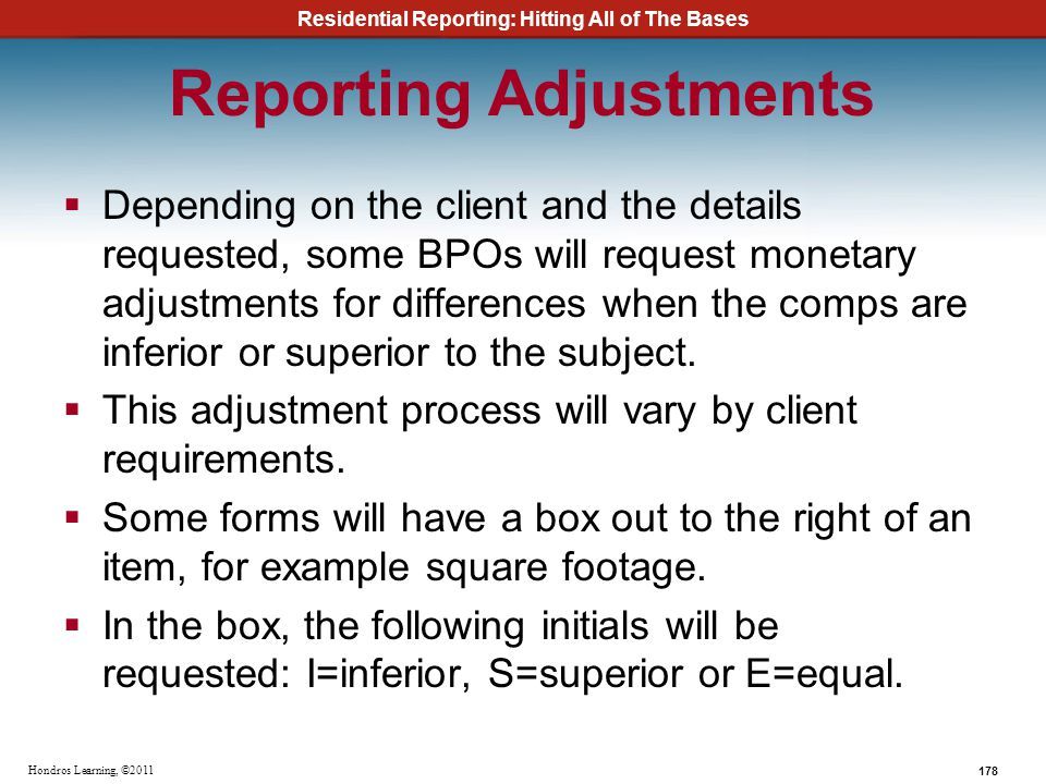 Reporting Adjustments