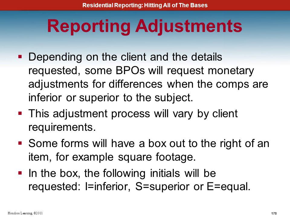 Reporting Adjustments