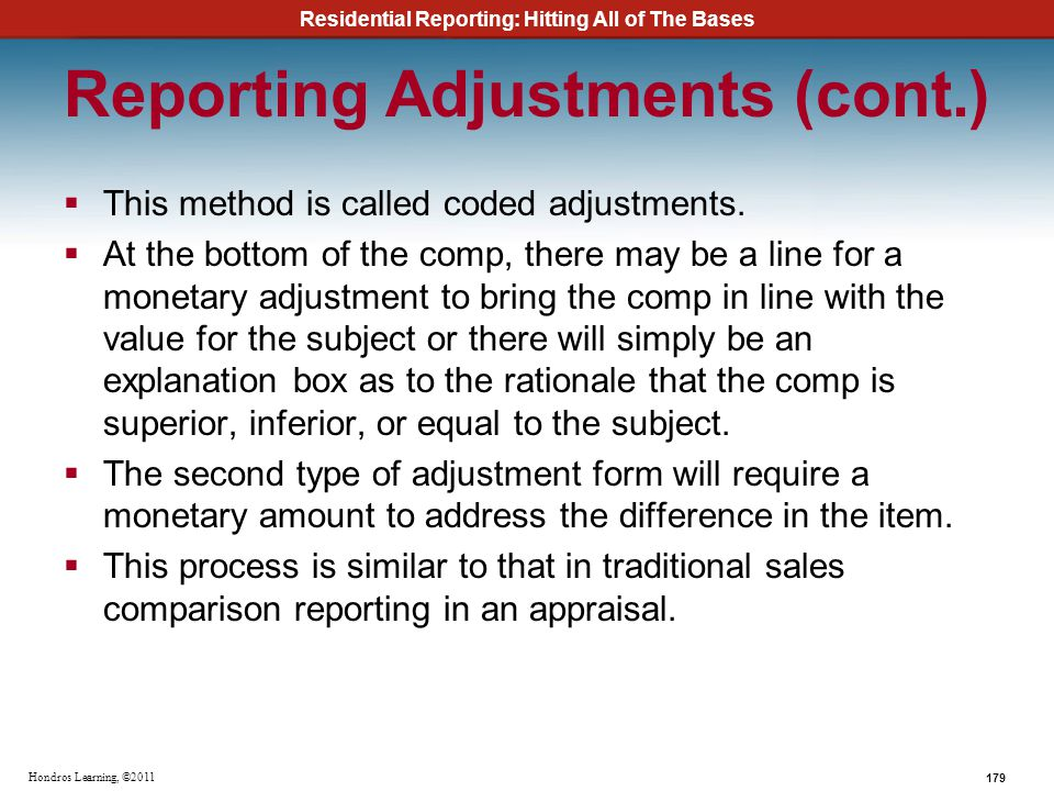 Reporting Adjustments (cont.)