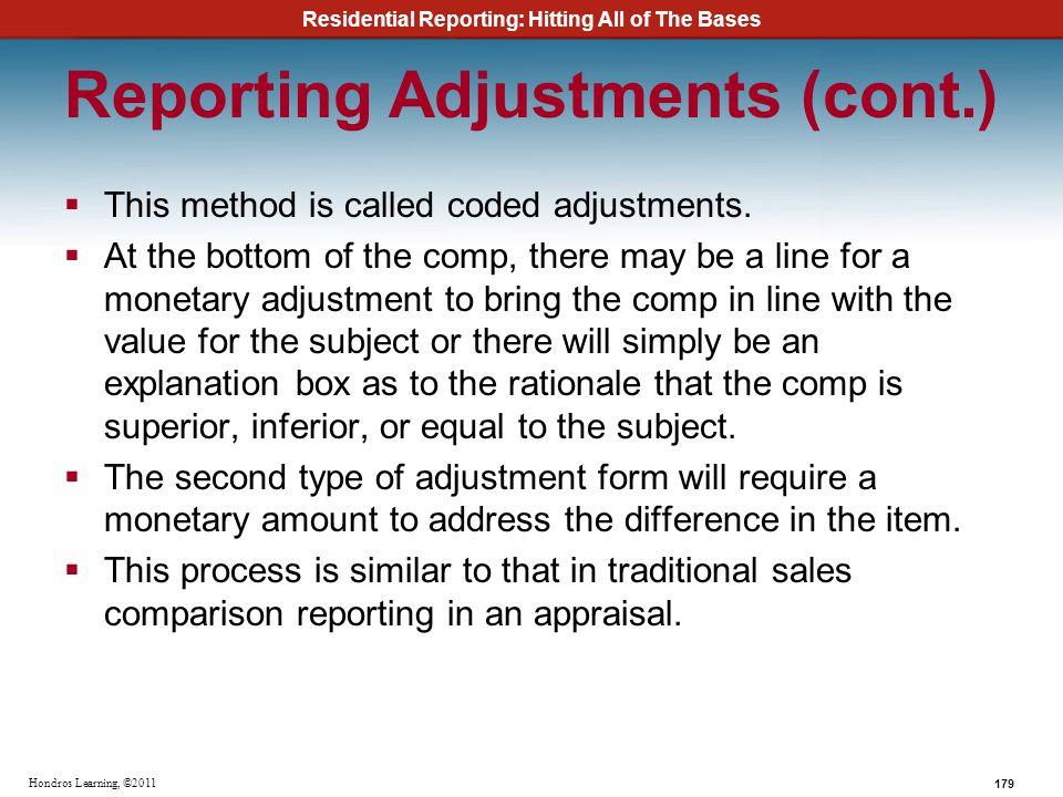 Reporting Adjustments (cont.)