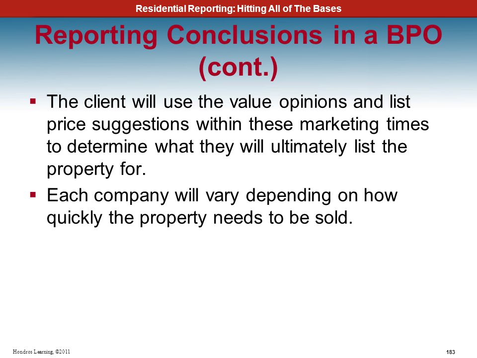 Reporting Conclusions in a BPO (cont.)