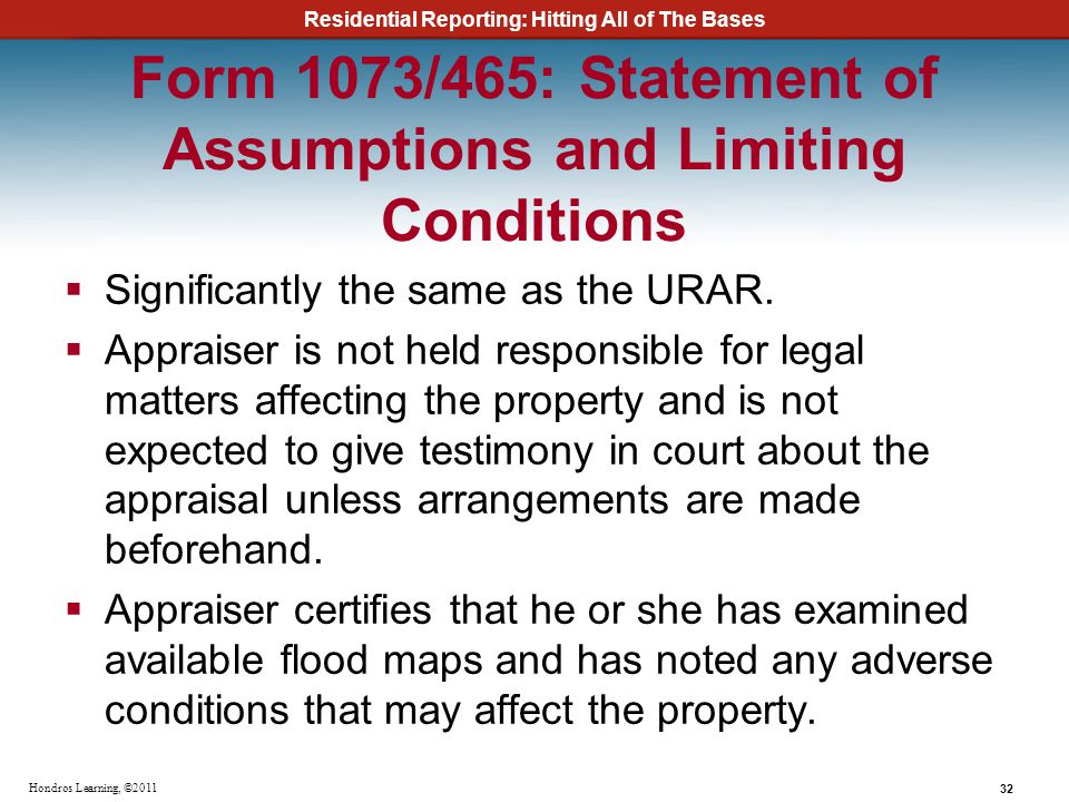 Form 1073/465: Statement of Assumptions and Limiting Conditions