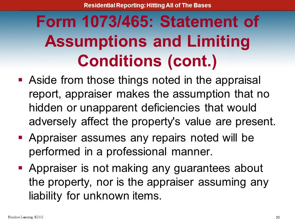 Form 1073/465: Statement of Assumptions and Limiting Conditions (cont
