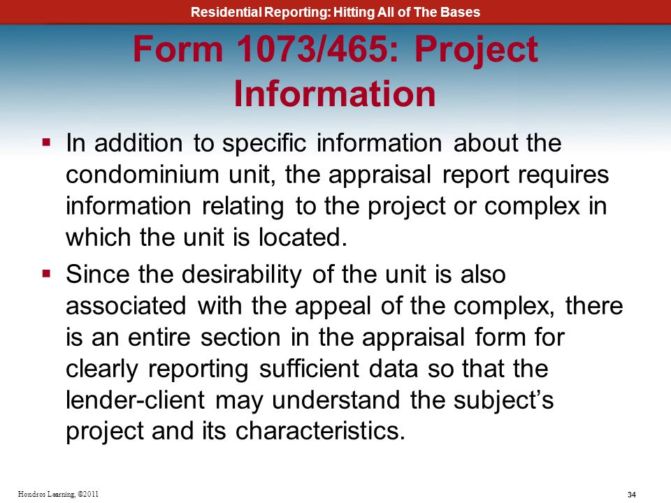 Form 1073/465: Project Information