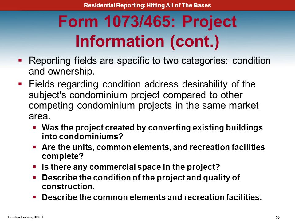 Form 1073/465: Project Information (cont.)