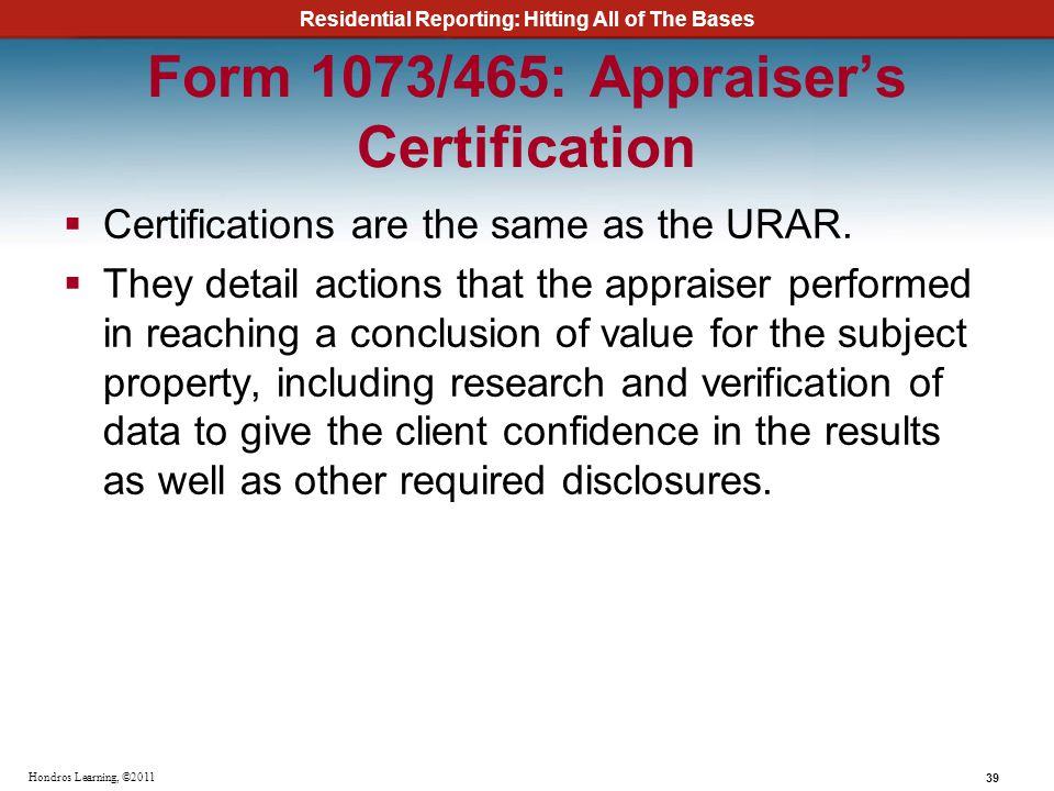 Form 1073/465: Appraiser's Certification
