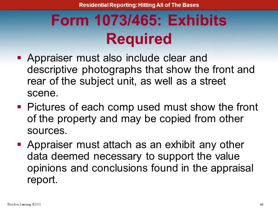 Form 1073/465: Exhibits Required