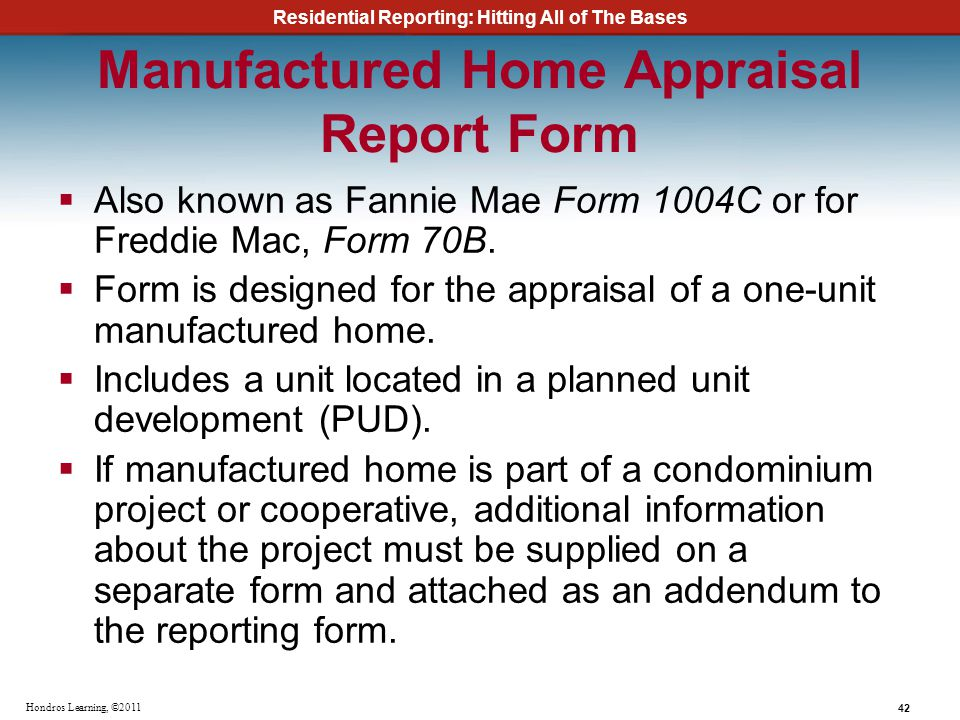 Manufactured Home Appraisal Report Form