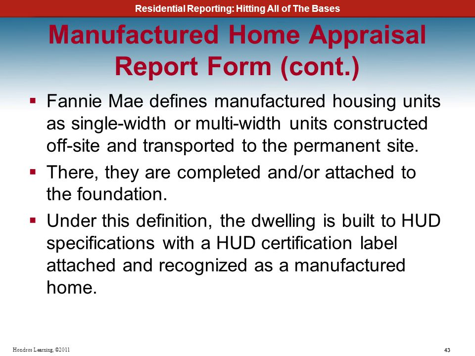 Manufactured Home Appraisal Report Form (cont.)