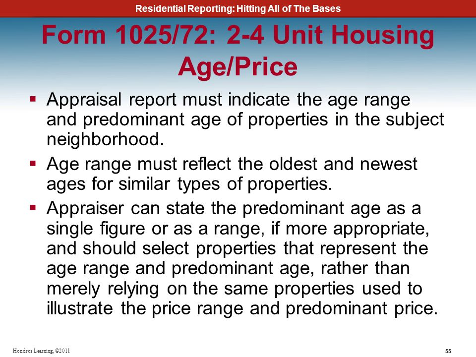 Form 1025/72: 2-4 Unit Housing Age/Price