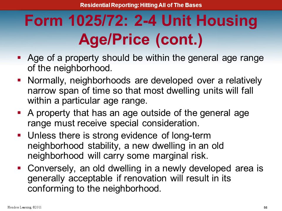 Form 1025/72: 2-4 Unit Housing Age/Price (cont.)