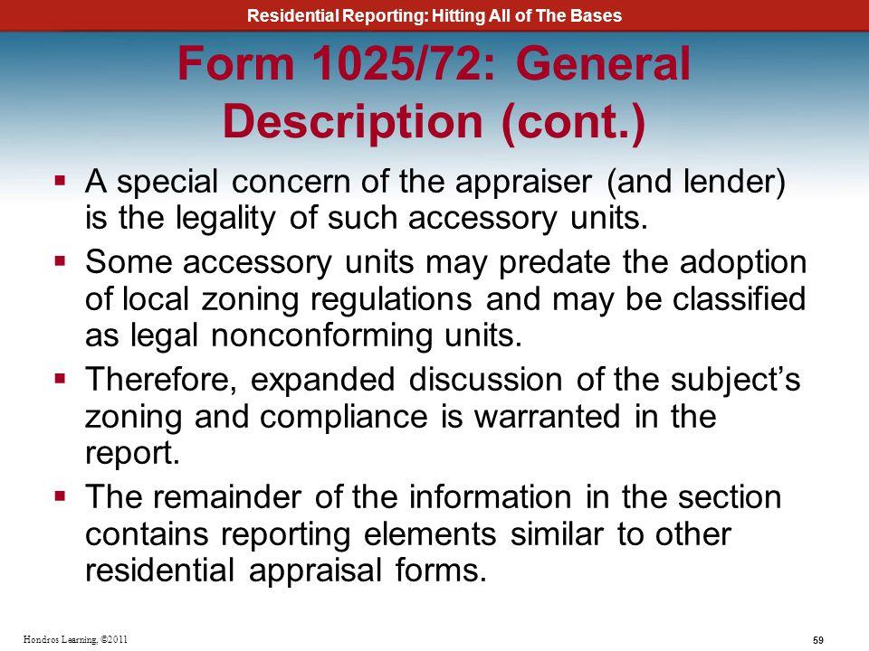 Form 1025/72: General Description (cont.)