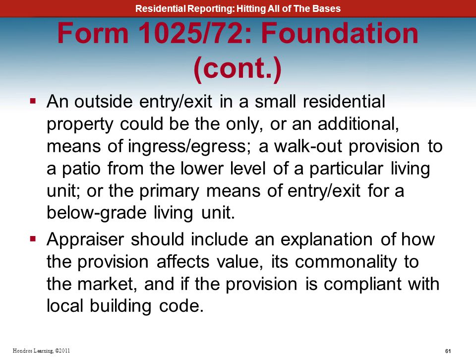 Form 1025/72: Foundation (cont.)