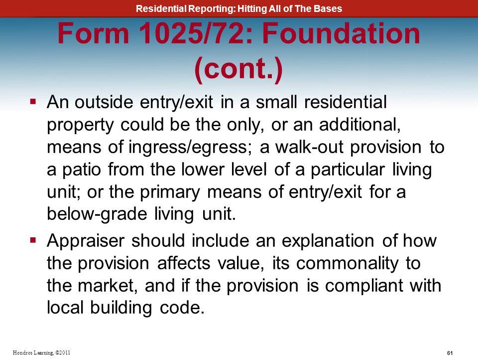 Form 1025/72: Foundation (cont.)