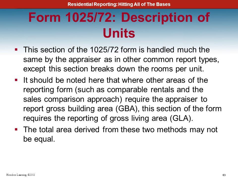 Form 1025/72: Description of Units