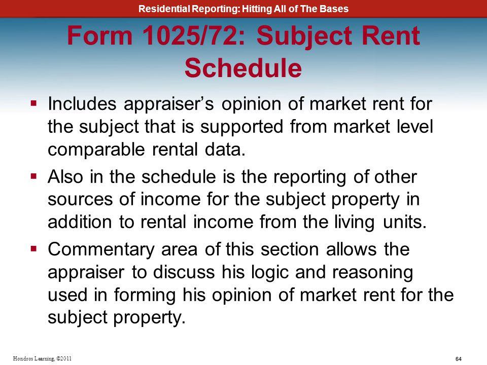 Form 1025/72: Subject Rent Schedule