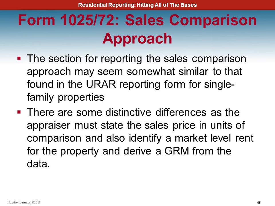 Form 1025/72: Sales Comparison Approach