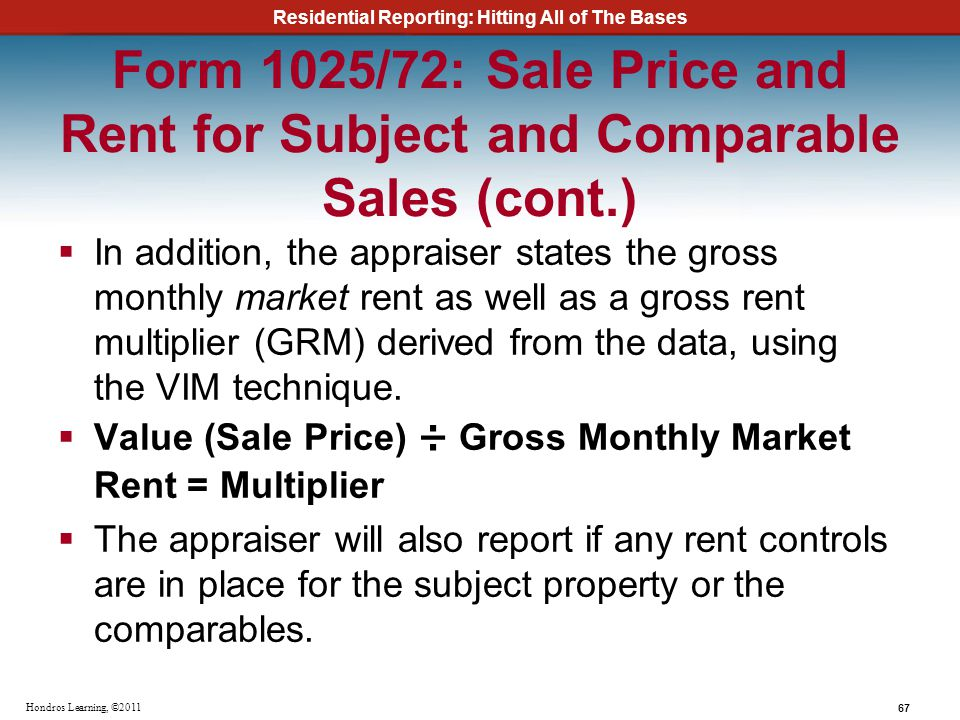 Form 1025/72: Sale Price and Rent for Subject and Comparable Sales (cont.)
