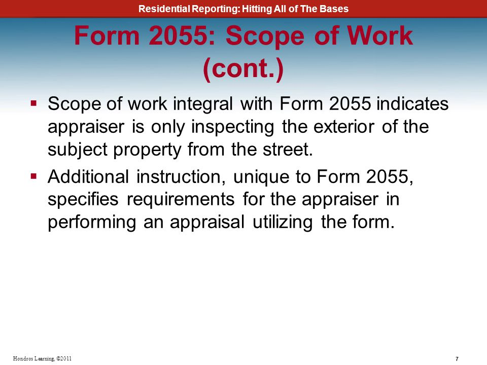 Form 2055: Scope of Work (cont.)