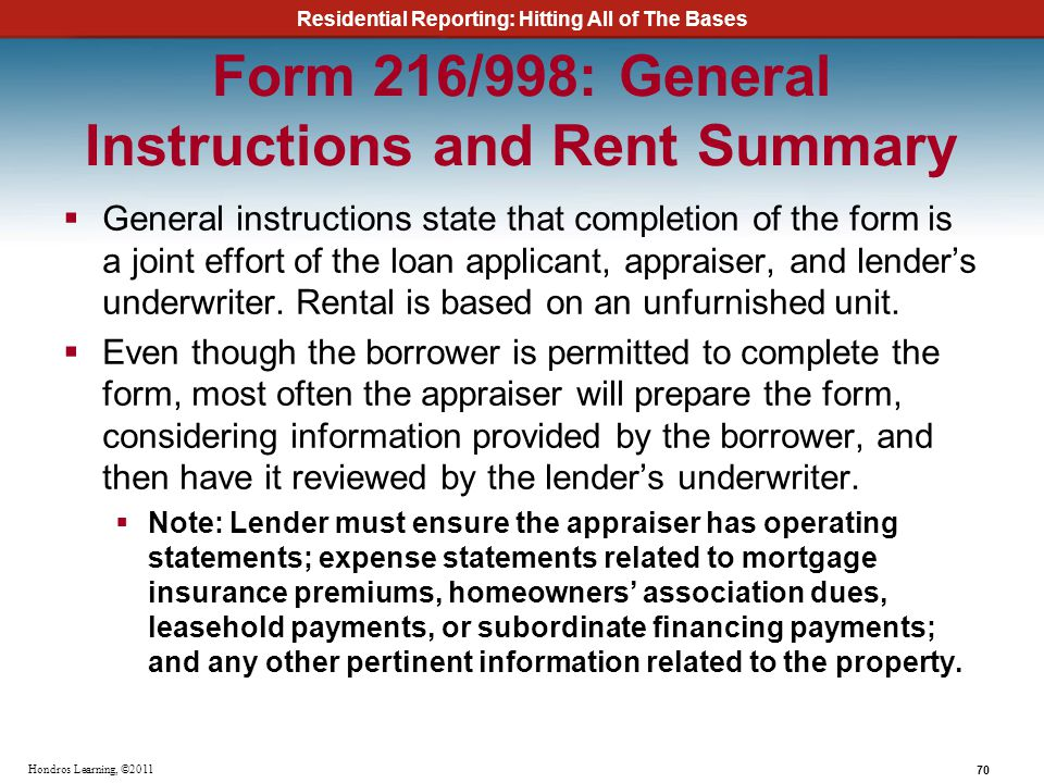 Form 216/998: General Instructions and Rent Summary