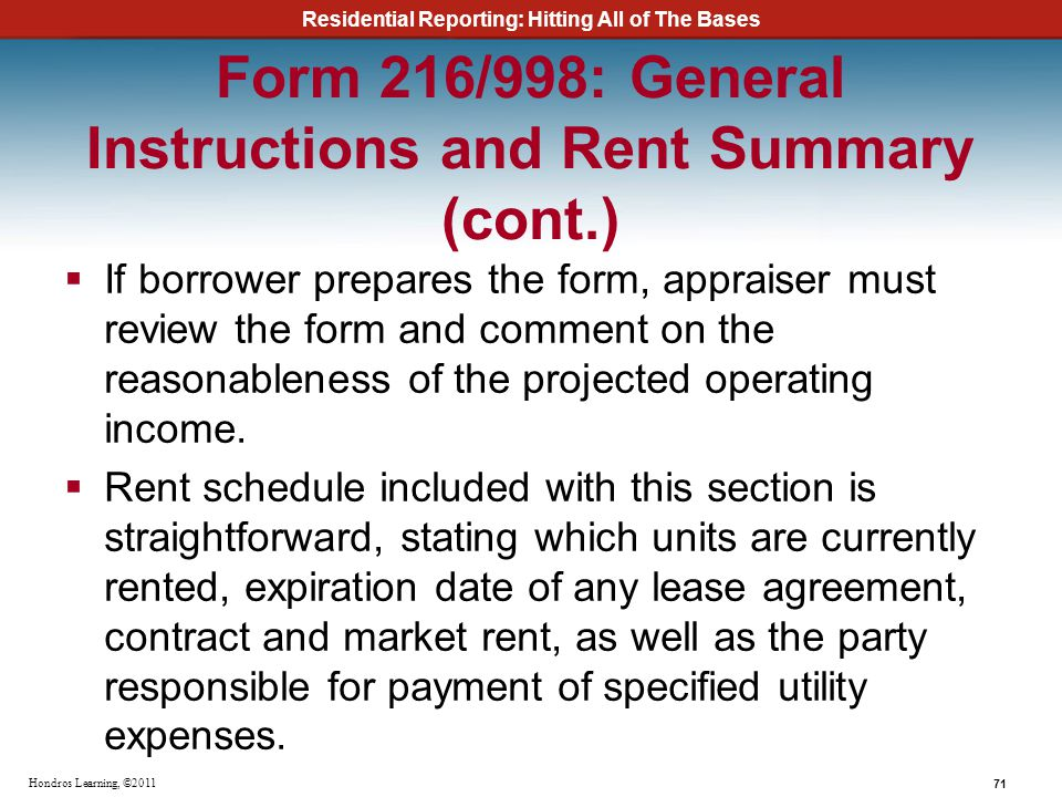 Form 216/998: General Instructions and Rent Summary (cont.)