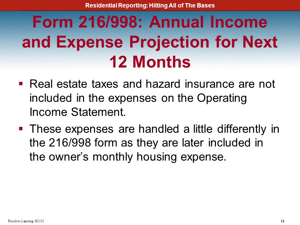 Form 216/998: Annual Income and Expense Projection for Next 12 Months