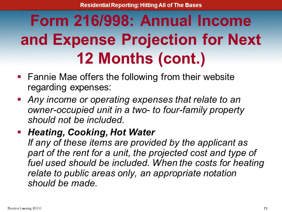 Form 216/998: Annual Income and Expense Projection for Next 12 Months (cont.)