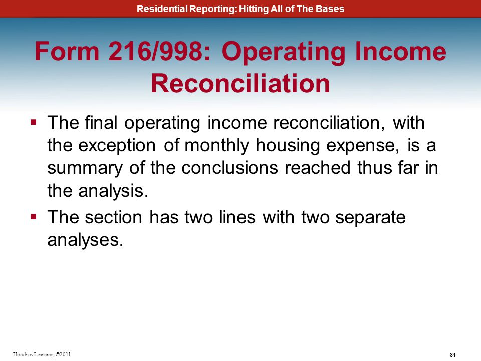 Form 216/998: Operating Income Reconciliation