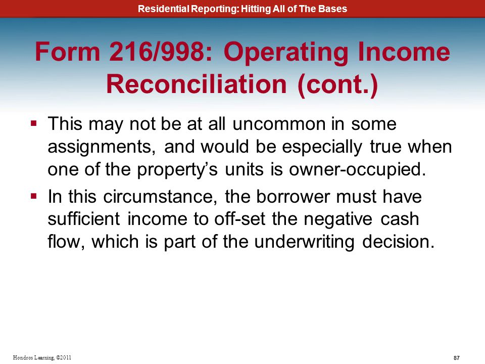 Form 216/998: Operating Income Reconciliation (cont.)