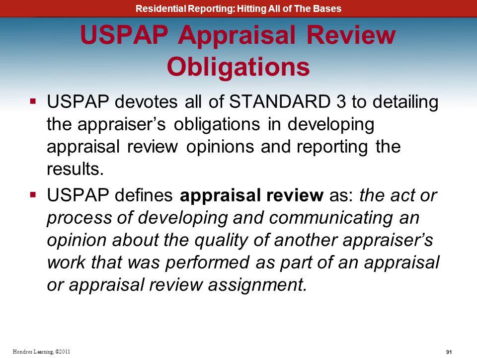 USPAP Appraisal Review Obligations