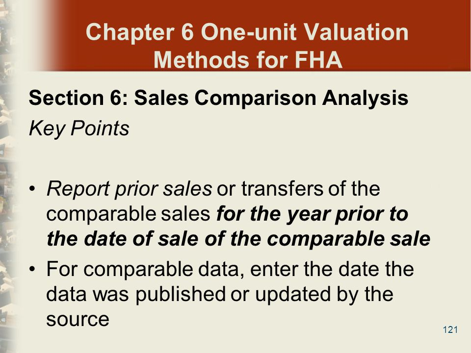 Chapter 6 One-unit Valuation Methods for FHA