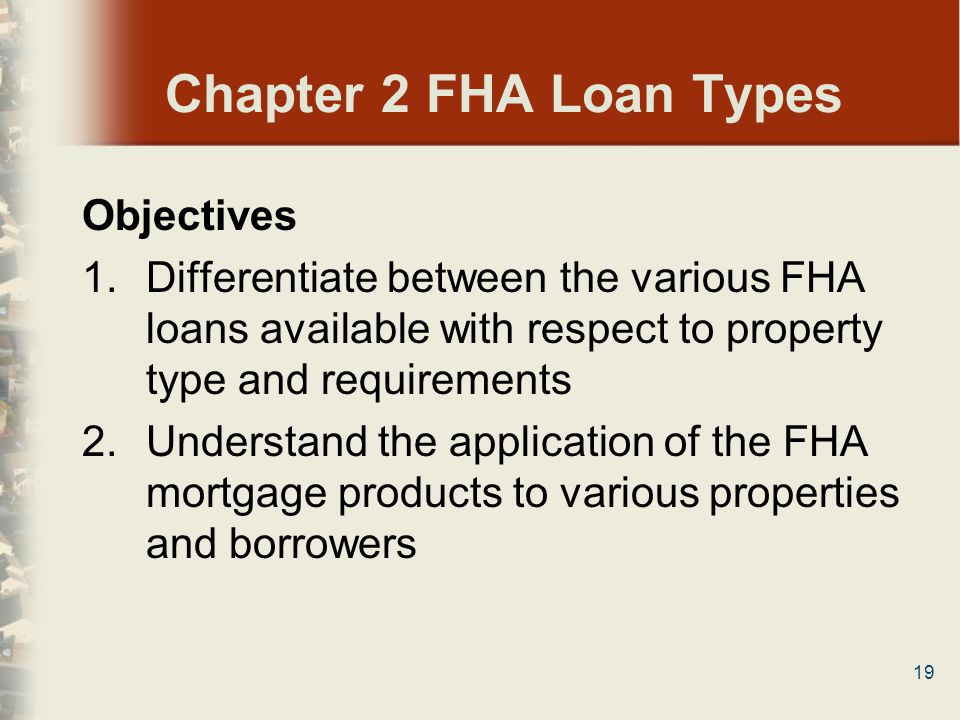 Chapter 2 FHA Loan Types Objectives